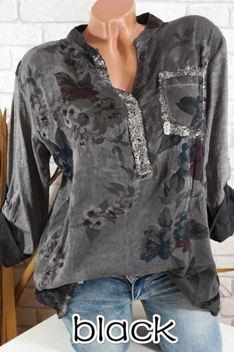 10b1ccfb17 Boho Long Sleeve Floral Shirt Women V Neck Loose Tops Sequin Pocket Plus  Size Casual Shirt
