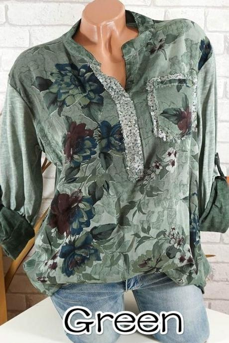 Boho Long Sleeve Floral Shirt Women V Neck Loose Tops Sequin Pocket Plus Size Casual Shirt green
