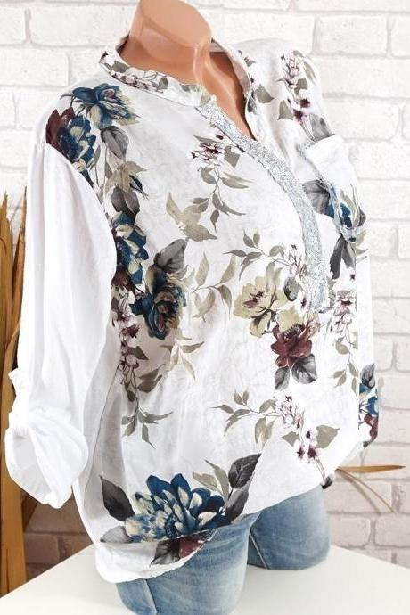 Boho Long Sleeve Floral Shirt Women V Neck Loose Tops Sequin Pocket Plus Size Casual Shirt off white