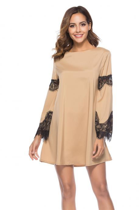 Khaki Short Shift Dress with Lace Patchwork and Long Flared Sleeves