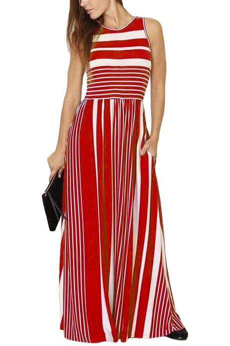 Women Striped Maxi Dress Sleeveless Pocket High Waist Summer Boho Beach Long Dress red