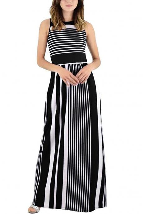 Women Striped Maxi Dress Sleeveless Pocket High Waist Summer Boho Beach Long Dress black