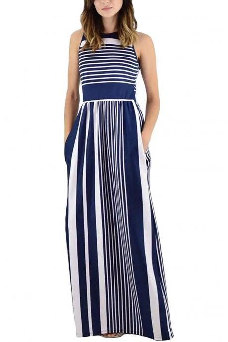 Women Striped Maxi Dress Sleeveless Pocket High Waist Summer Boho Beach Long Dress navy blue