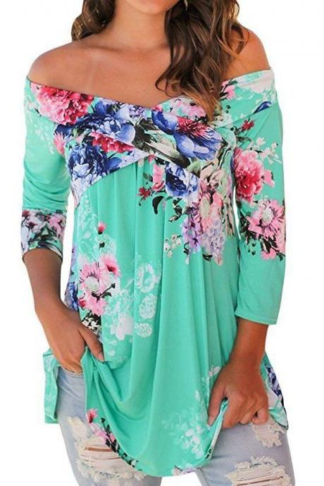 Women Floral Print Blouse Off Shoulder Tops 3/4 Sleeve Casual Plus Size T Shirt green