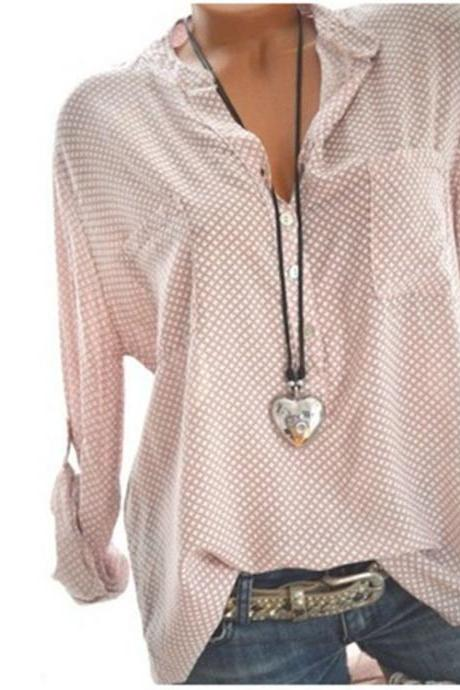 men Polka Dot Blouse V Neck Summer Long Sleeve OL Work Office Loose Top Shirts pink