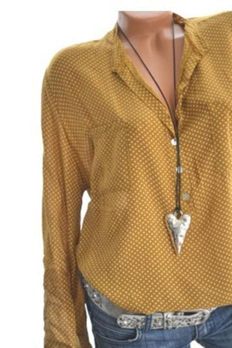 Women Polka Dot Blouse V Neck Summer Long Sleeve OL Work Office Loose Top Shirts yellow