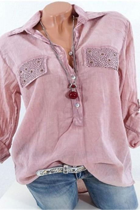 Fashion Long Sleeve Loose Blouse Women V Neck Office OL Work Casual Shirt Tops pink