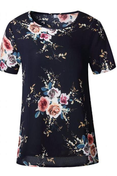 Floral Print Navy Blue Crew Neck Short Sleeves T-Shirt