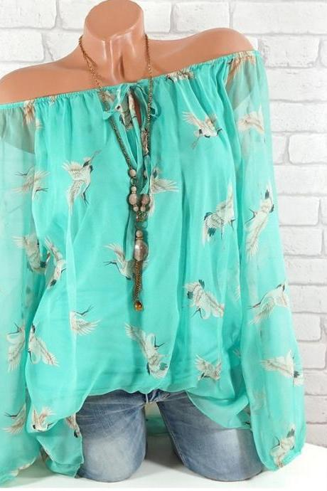 Women Floral Shirt Summer Off Shoulder V Neck Long Sleeve Casual Loose Tops Blouses aqua