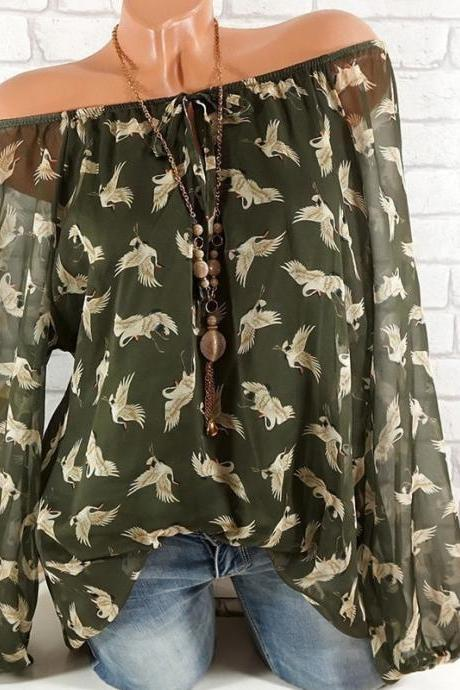 Women Floral Shirt Summer Off Shoulder V Neck Long Sleeve Casual Loose Tops Blouses army green