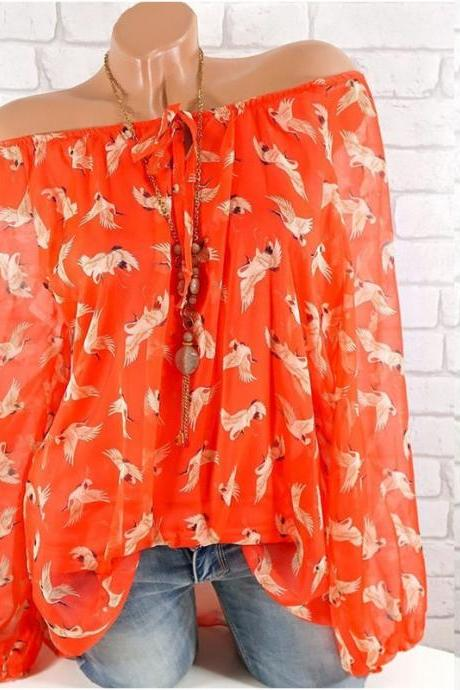 Women Floral Shirt Summer Off Shoulder V Neck Long Sleeve Casual Loose Tops Blouses orange