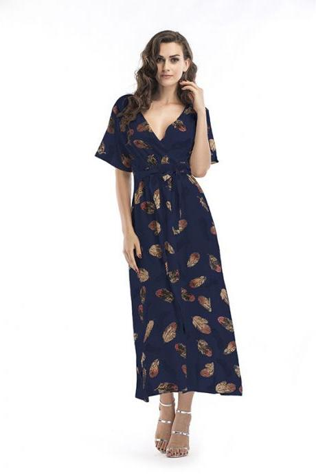 Women Summer Floral Printed Maxi Dress Boho Short Sleeve V-Neck Split Belted Beach Long Dress7#