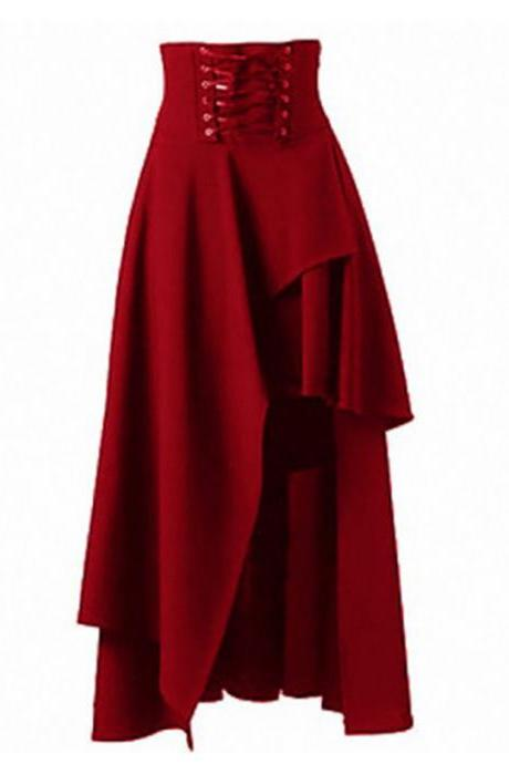 Gothic Steampunk Skirt Lolita Lace-Up High Waist Asymmetric Hem Bandage Long Maxi Skirts red