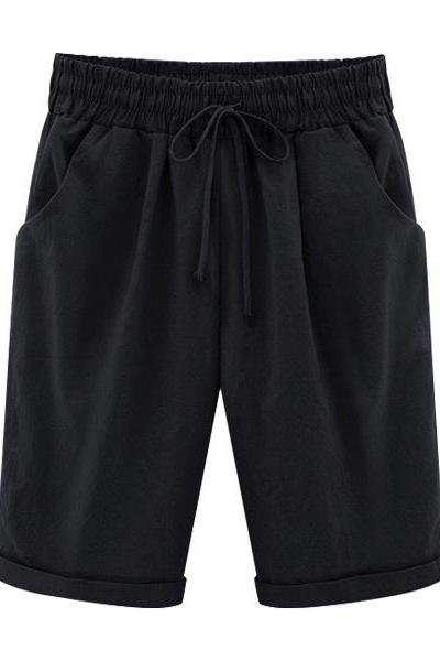 Plus Size Summer Woman Half Pants Mid Waist Drawstring Lady Casual Haren Short Trousers black