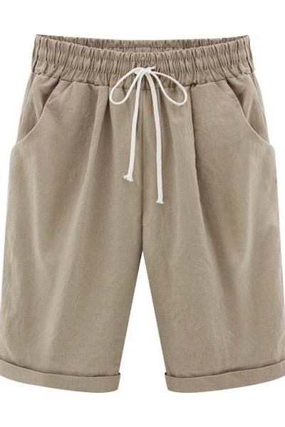 Plus Size Summer Woman Half Pants Mid Waist Drawstring Lady Casual Haren Short Trousers khaki