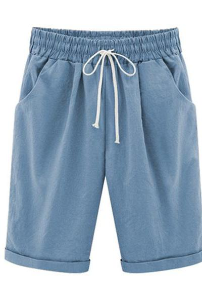 Plus Size Summer Woman Half Pants Mid Waist Drawstring Lady Casual Haren Short Trousers light blue