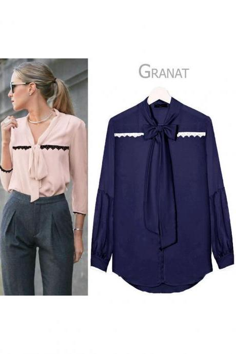 Women V Neck OL Office Blouse Long Sleeve Tie Bow Lace Casual Female Tops Shirt Navy Blue