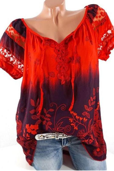 Plus Size Women Blouse Summer Hollow Out Lace Patchwork V Neck Tie Bohemian Floral Shirts red