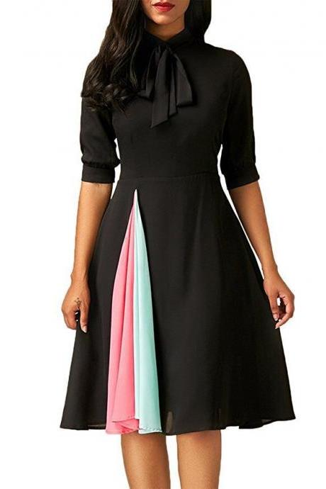 Black Casual Dress with Quarter Sleeve and Dual Pastel Tone Streak