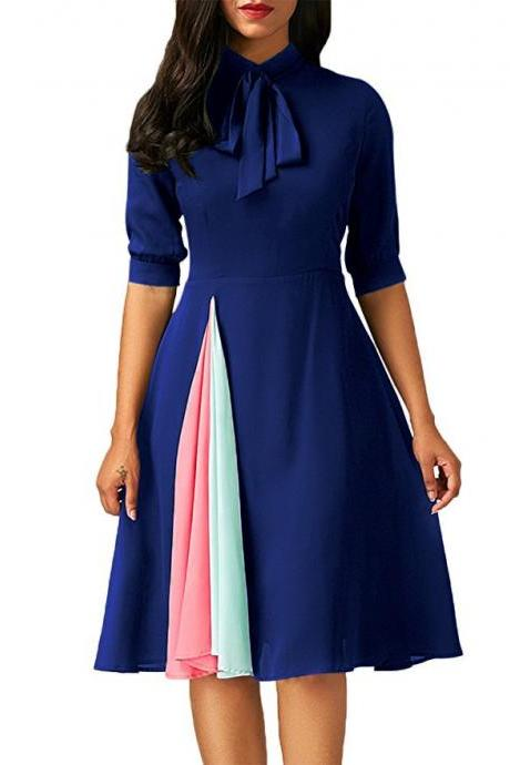 Women Patchwork Dress Half Sleeve Bow Tie Work Office A Line Casual Party Dress blue