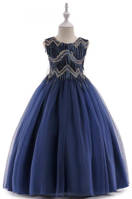 Beaded Flower Girl Dress Tassel Princess Formal Party Prom Long Gown Children Clothes navy blue