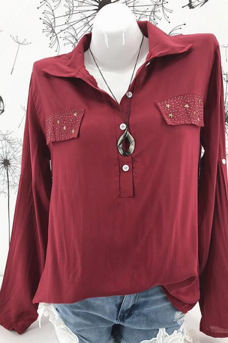 Women Blouse Long Sleeve Plus Size Casual Work Office Lady Tops Shirt crimson
