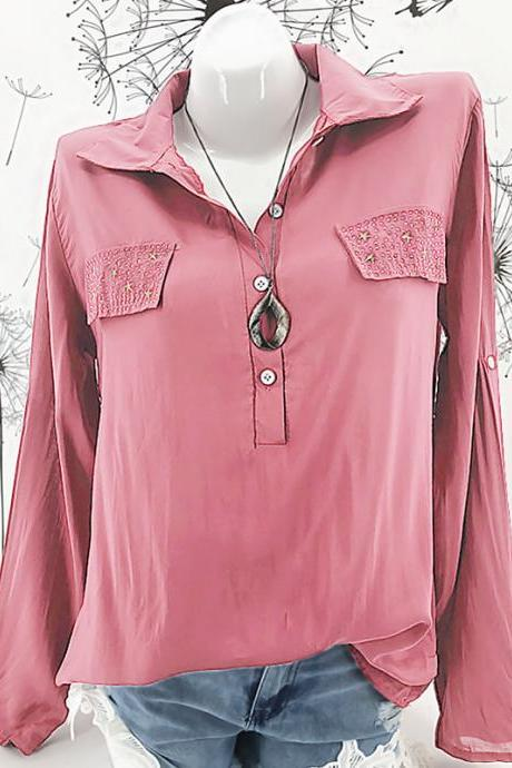 Women Blouse Long Sleeve Plus Size Casual Work Office Lady Tops Shirt pink