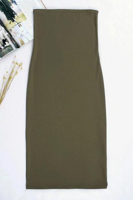 Women Summer Pencil Dress Strapless Beach Slim Bodycon Club Party Dress army green