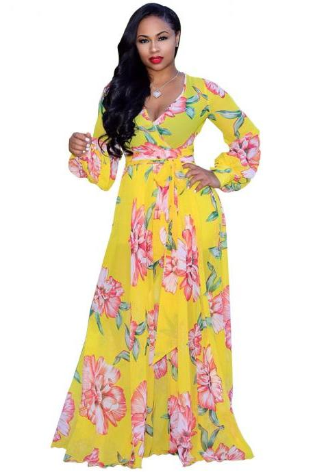 Sexy Deep V Neck Maxi Dress Beach Casual Long Sleeve Boho Floral Printed Women Long Dress yellow