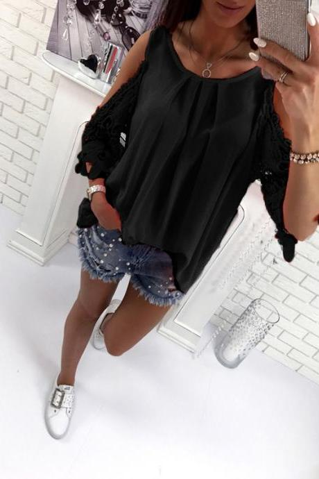 Women Blouse Summer 3/4 Sleeve Hollow Out Lace Patchwork Shirt Casual Off the Shoulder Boho Tops black