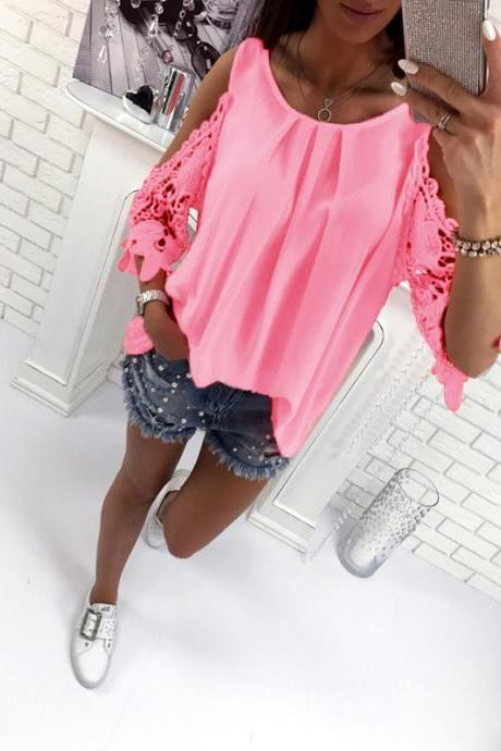 Women Blouse Summer 3/4 Sleeve Hollow Out Lace Patchwork Shirt Casual Off the Shoulder Boho Tops pink