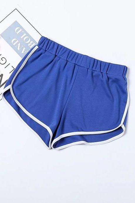 Women Summer Shorts Elastic Waist Streetwear Loose Letter Printed Soft Cotton Casual Shorts blue