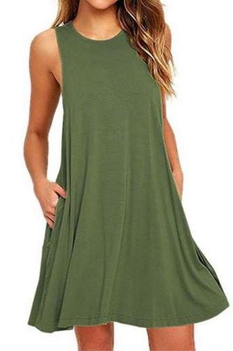 Women Casual Dress Beach Summer Sundress Sleeveless Pockets Mini Party Dress army green
