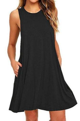Women Casual Dress Beach Summer Sundress Sleeveless Pockets Mini Party Dress black
