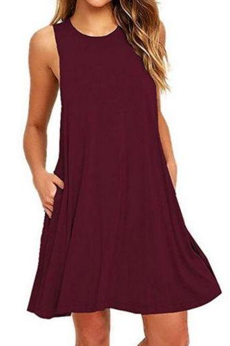 Women Casual Dress Beach Summer Sundress Sleeveless Pockets Mini Party Dress burgundy
