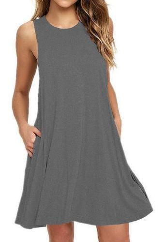 Women Casual Dress Beach Summer Sundress Sleeveless Pockets Mini Party Dress purple gray