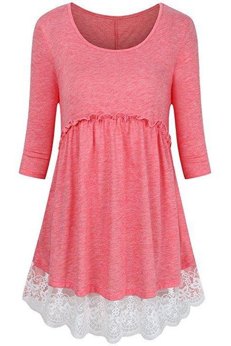 Women Tunic Blouse Cotton Half Sleeve Casual Lace Patchwork Peplum Tops T-Shirt coral