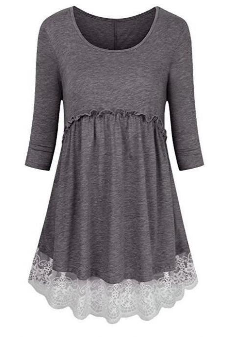 Women Tunic Blouse Cotton Half Sleeve Casual Lace Patchwork Peplum Tops T-Shirt gray