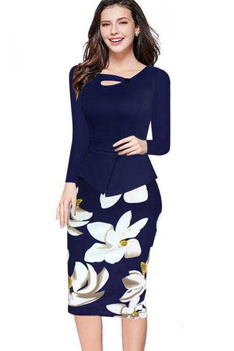 Women Floral Print Patchwork Pencil Dress Half/Long Sleeve Plus Size Slim Work OL Office Bodycon Party Dress 1#