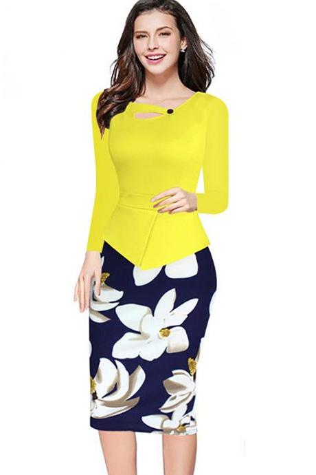 Women Floral Print Patchwork Pencil Dress Half/Long Sleeve Plus Size Slim Work OL Office Bodycon Party Dress