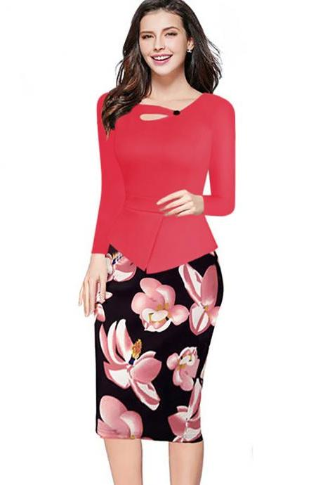 Women Floral Print Patchwork Pencil Dress Half/Long Sleeve Plus Size Slim Work OL Office Bodycon Party Dress 6#