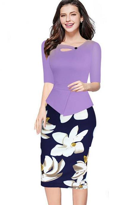 Women Floral Print Patchwork Pencil Dress Half/Long Sleeve Plus Size Slim Work OL Office Bodycon Party Dress 10#
