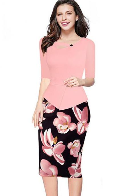 Women Floral Print Patchwork Pencil Dress Half/Long Sleeve Plus Size Slim Work OL Office Bodycon Party Dress 14#