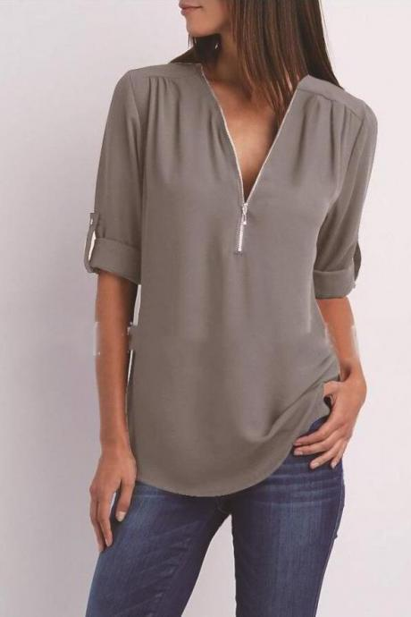 Sexy V Neck Chiffon Blouse Long Sleeve Zipper Plus Size Streetwear Casual Loose Top T-Shirt gray