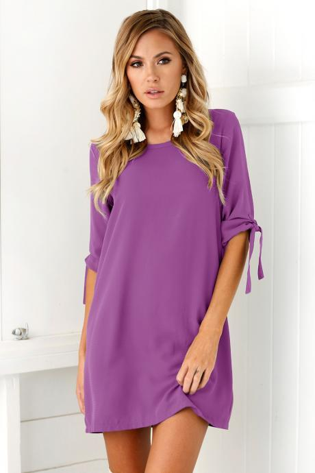 Women Casual T Shirt Dress Half Sleeve Beach Summer Loose Mini Club Party Dress purple