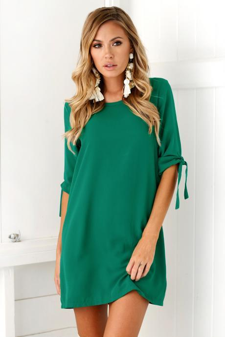 Women Casual T Shirt Dress Half Sleeve Beach Summer Loose Mini Club Party Dress green