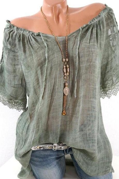Women Lace Patchwork T-Shirt Summer Short Sleeve Casual Loose Plus Size Off the Shoulder Top Blouse army green