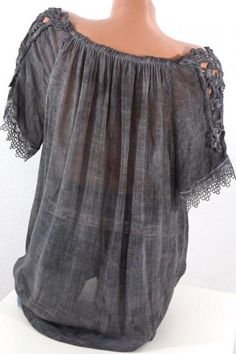 Women Lace Patchwork T-Shirt Summer Short Sleeve Casual Loose Plus Size Off the Shoulder Top Blouse dark gray