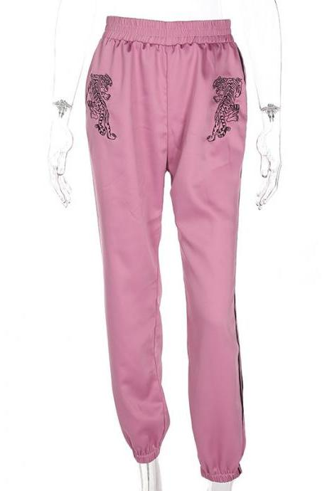 Women Harem Pants High Waist Embroidery Striped Loose Casual Trousers Sweatpants pink
