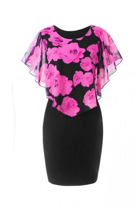 Women Bodycon Pencil Dress Summer Plus Size Cloak Sleeve Rose Printed Mini Club Party Dress hot pink